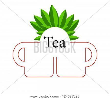 Green tea cupVector tea cup on green backgroundicon cup.