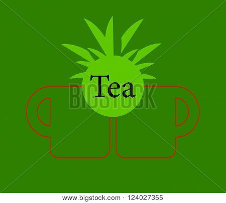Green tea cup Vector tea cup on green background icon cup.