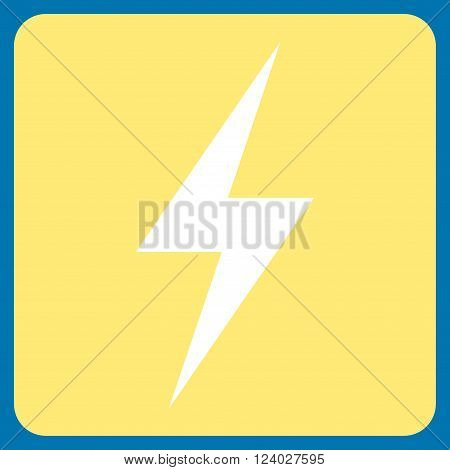 Electricity vector pictogram. Image style is bicolor flat electricity pictogram symbol drawn on a rounded square with yellow and white colors.