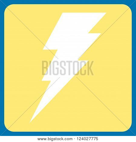 Execute vector icon. Image style is bicolor flat execute pictogram symbol drawn on a rounded square with yellow and white colors.