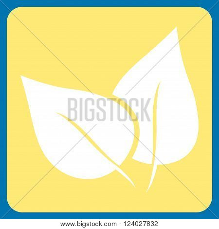 Flora Plant vector symbol. Image style is bicolor flat flora plant pictogram symbol drawn on a rounded square with yellow and white colors.