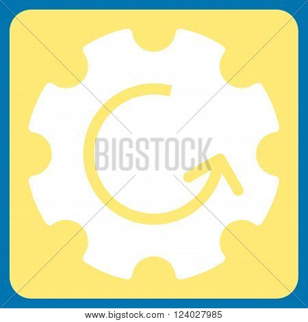 Gear Rotation vector pictogram. Image style is bicolor flat gear rotation icon symbol drawn on a rounded square with yellow and white colors.