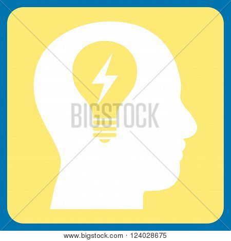 Head Bulb vector icon. Image style is bicolor flat head bulb iconic symbol drawn on a rounded square with yellow and white colors.