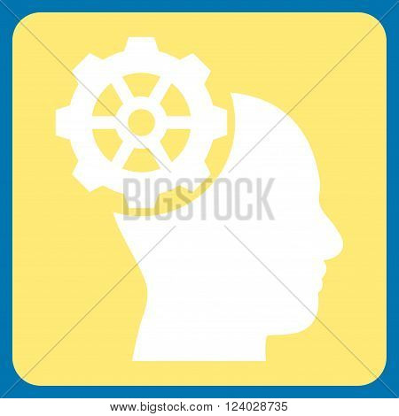 Head Gear vector icon symbol. Image style is bicolor flat head gear icon symbol drawn on a rounded square with yellow and white colors.