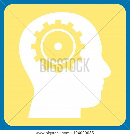 Intellect vector icon symbol. Image style is bicolor flat intellect pictogram symbol drawn on a rounded square with yellow and white colors.