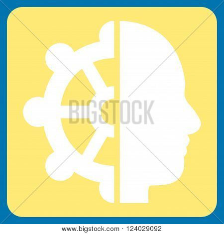 Intellect vector pictogram. Image style is bicolor flat intellect pictogram symbol drawn on a rounded square with yellow and white colors.