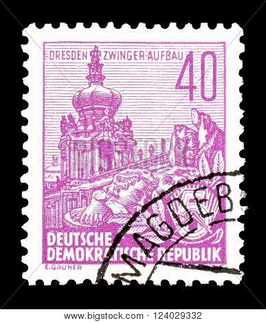 GERMAN DEMOCRATIC REPUBLIC - CIRCA 1955 : Cancelled postage stamp printed by German Democratic Republic, that shows Dresden.