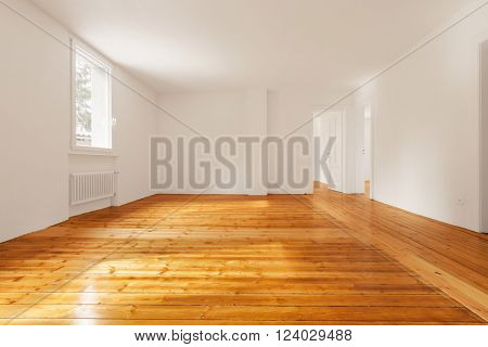 Modern room with parquet, nobody inside