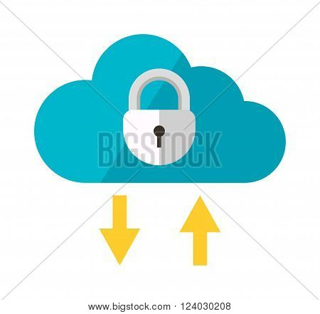 Cloud storage vector. Cloud storage illustration. Cloud storage isolated on white. Cloud storage icon. Cloud storage flat style, cloud storage silhouette. Cloud storage concept