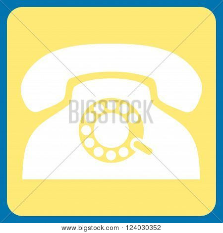 Pulse Phone vector icon symbol. Image style is bicolor flat pulse phone pictogram symbol drawn on a rounded square with yellow and white colors.