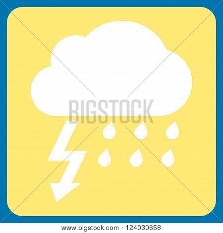 Thunderstorm vector symbol. Image style is bicolor flat thunderstorm icon symbol drawn on a rounded square with yellow and white colors.