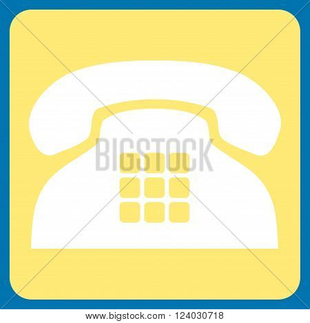 Tone Phone vector symbol. Image style is bicolor flat tone phone iconic symbol drawn on a rounded square with yellow and white colors.