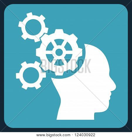 Brain Mechanics vector icon. Image style is bicolor flat brain mechanics icon symbol drawn on a rounded square with blue and white colors.