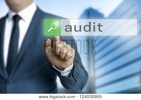 Audit browser is operated by businessman background