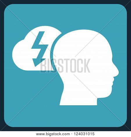 Brainstorming vector pictogram. Image style is bicolor flat brainstorming icon symbol drawn on a rounded square with blue and white colors.