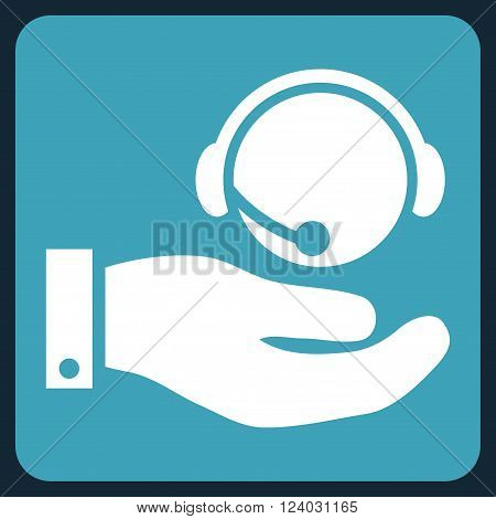 Call Center Service vector pictogram. Image style is bicolor flat call center service iconic symbol drawn on a rounded square with blue and white colors.