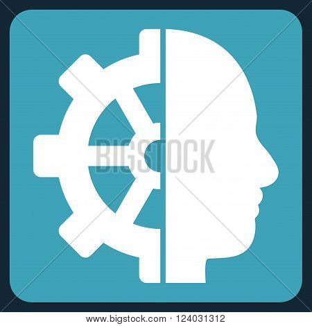 Cyborg Gear vector icon. Image style is bicolor flat cyborg gear iconic symbol drawn on a rounded square with blue and white colors.