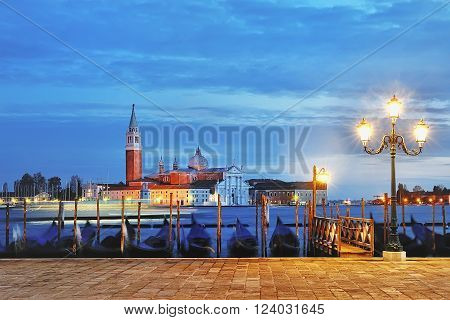 view of Canal Grande from Piazza San Marco at blue hour Venice Italy