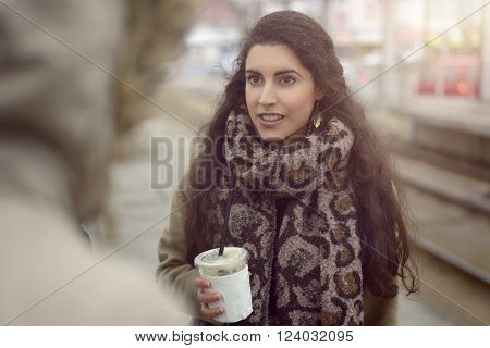 Pretty Young Woman Holding A Takeaway Beverage