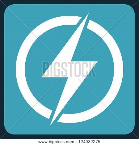 Electricity vector icon symbol. Image style is bicolor flat electricity icon symbol drawn on a rounded square with blue and white colors.