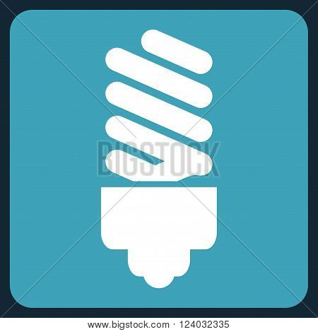 Fluorescent Bulb vector symbol. Image style is bicolor flat fluorescent bulb icon symbol drawn on a rounded square with blue and white colors.