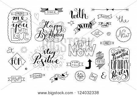 set of handlettering catchwords and quotes banners and design elements