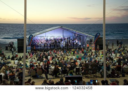 PERTH, WA / AUSTRALIA, DECEMBER 13, 2015: Stage at Christmas Carols 2015 event on Scarborough Beach
