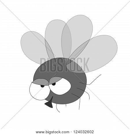 Funny caricature black fly vector icon on white background