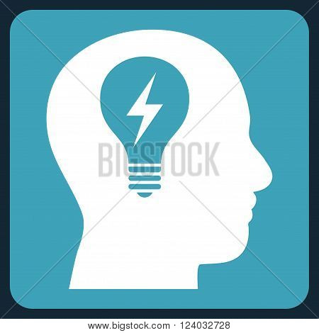 Head Bulb vector pictogram. Image style is bicolor flat head bulb pictogram symbol drawn on a rounded square with blue and white colors.