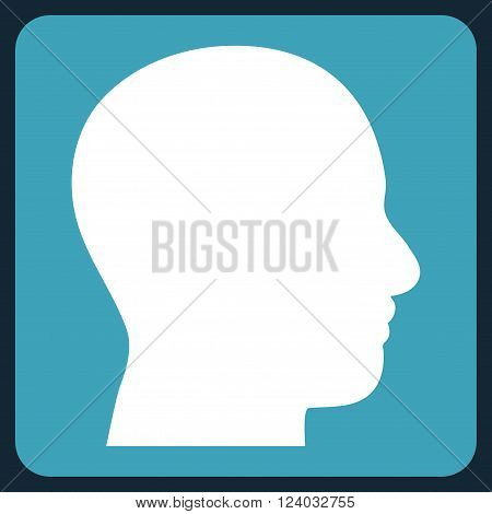 Head Profile vector icon symbol. Image style is bicolor flat head profile icon symbol drawn on a rounded square with blue and white colors.
