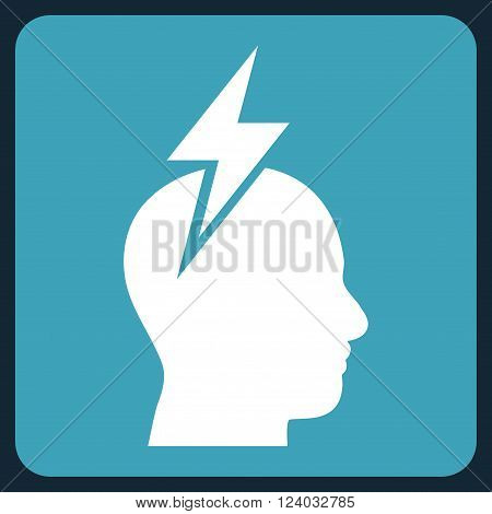 Headache vector icon symbol. Image style is bicolor flat headache pictogram symbol drawn on a rounded square with blue and white colors.