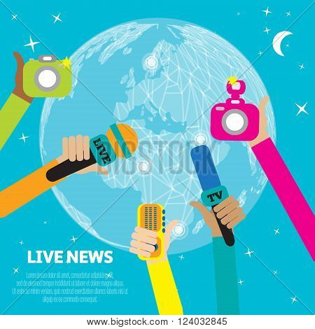 Live report concept live news - set of hands holding microphones and voice recorders. Breaking news flat style vector illustration. Mass media signs symbols objects icons abstract elements.