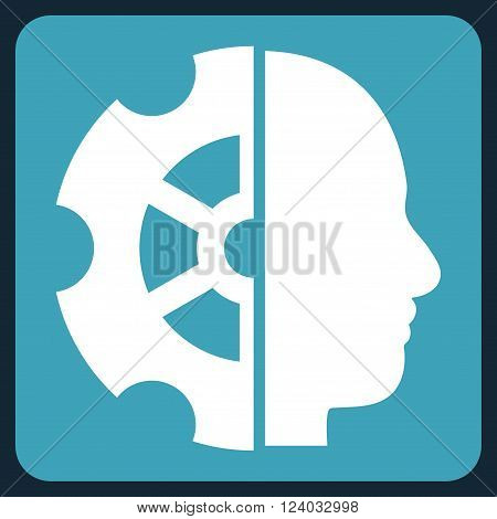 Intellect vector pictogram. Image style is bicolor flat intellect pictogram symbol drawn on a rounded square with blue and white colors.