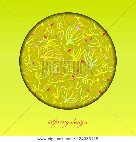 Abstract spring summer floral background. Green yellow spring twigs elegant ornament green background. Circle frame sprig pattern design. Wrapping paper, textile fabric vector illustration