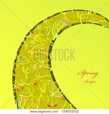 Abstract spring summer floral background. Green yellow swirl border design with spring twigs elegant pattern background. Wrapping paper, textile fabric vector illustration