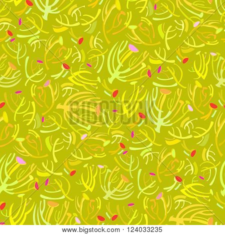 Abstract spring summer floral seamless pattern background. Green yellow elegant spring twigs and green-yellow color background. Wrapping paper, textile fabric and packaging design vector illustration