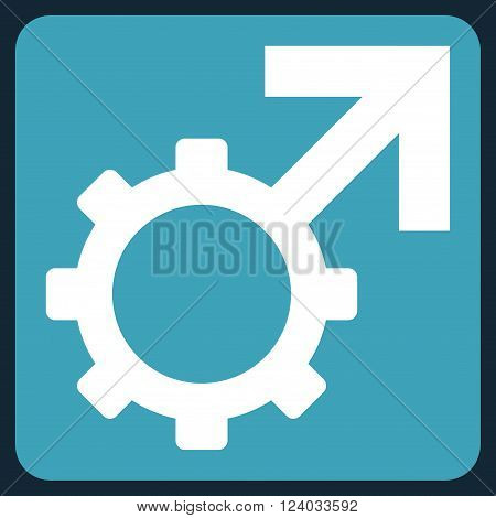 Technological Potence vector icon. Image style is bicolor flat technological potence iconic symbol drawn on a rounded square with blue and white colors.
