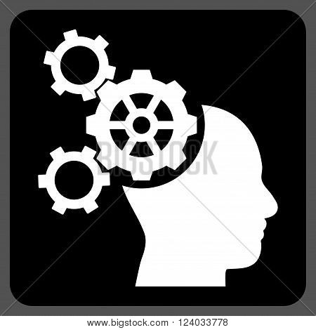 Brain Mechanics vector icon. Image style is bicolor flat brain mechanics iconic symbol drawn on a rounded square with black and white colors.