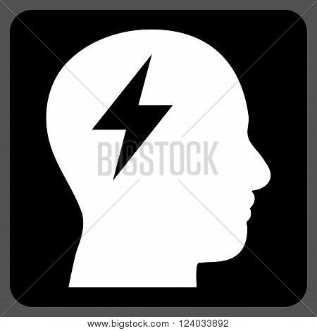 Brainstorming vector pictogram. Image style is bicolor flat brainstorming pictogram symbol drawn on a rounded square with black and white colors.