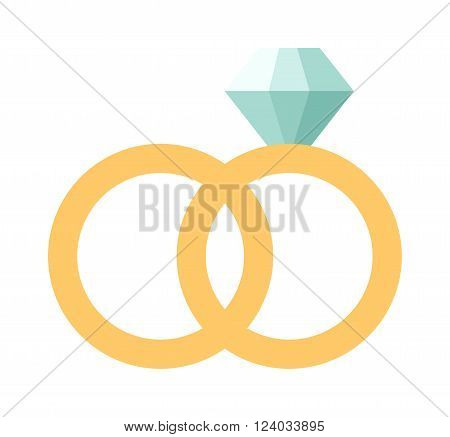 Vector wedding rings icon flat design. Wedding rings couple. Wedding rings symbol of love. Wedding rings jewelry. Wedding rings marriage celebration.