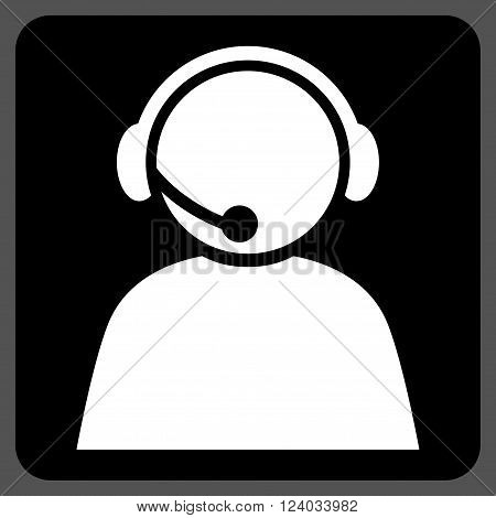 Call Center Operator vector pictogram. Image style is bicolor flat call center operator iconic symbol drawn on a rounded square with black and white colors.
