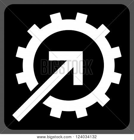 Cog Integration vector symbol. Image style is bicolor flat cog integration pictogram symbol drawn on a rounded square with black and white colors.