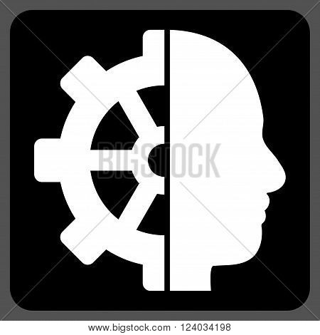 Cyborg Gear vector icon symbol. Image style is bicolor flat cyborg gear iconic symbol drawn on a rounded square with black and white colors.