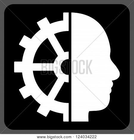 Cyborg Gear vector pictogram. Image style is bicolor flat cyborg gear pictogram symbol drawn on a rounded square with black and white colors.
