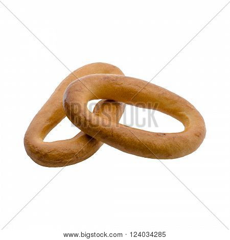 two brown bagel (bagels) isolated on a white background