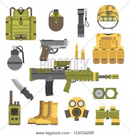 Military weapon guns symbols vector illustration. Military armor guns set. Military weapon guns army forces. Military weapon guns design. Military weapon guns symbols. Military weapon guns icons