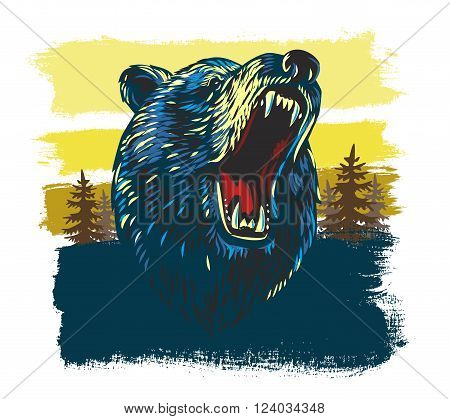 vector Angry Bear Head in forest background