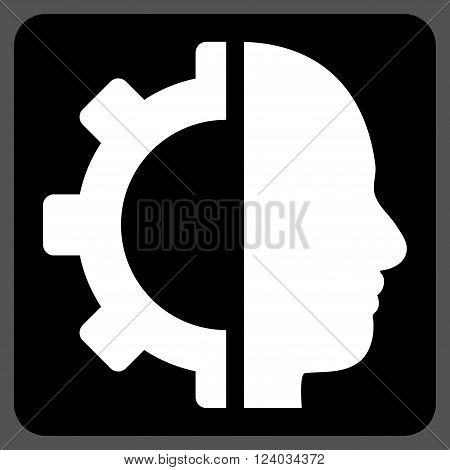 Cyborg Gear vector icon symbol. Image style is bicolor flat cyborg gear icon symbol drawn on a rounded square with black and white colors.