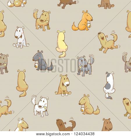 Seamless pattern with cartoon funny dogs on gray  background. Cute puppies. Vector image.
