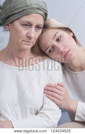 Worried Daughter And Her Sick Mother
